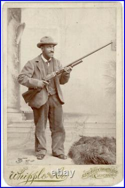 IDENTIFIED BLACK AFRICAN AMERICAN MAN & PUMP SHOTGUN 1880s CABINET PHOTO CHICAGO