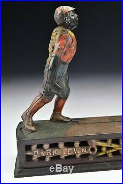 J&E Stevens Dark Town Battery Black Americana Baseball Cast Iron Mechanical Bank
