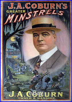 JA Coburn Minstrel Show Poster-Black Americana-Stone Lithograph-1900s-LKPX
