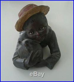 Johann Maresch Austrian blackamoor statue Child eating Watermelon vintage VGC