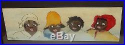 Johnson Four African American Girls Original Watercolor Painting