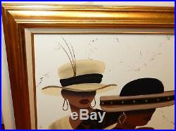 June Marie Original Oil On Canvas Two African American Woman & Earrings Painting
