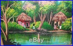 King Pinto Original Oil On Canvas Jamaican Village Landscape Painting