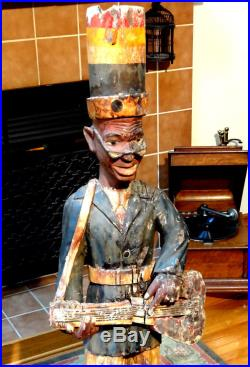 LARGE CARVED Antique MARDI GRAS Statue BLACK AMERICANA Cigar Store Indian Style