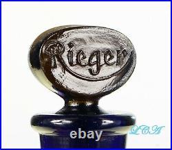 LARGE antique RIEGER'S Black Velvet PERFUME bottle LARGE colorful w STOPPER