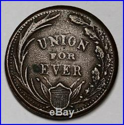 LIBERTY AND NO SLAVERY Civil War Union For Ever 1863 Token RARE