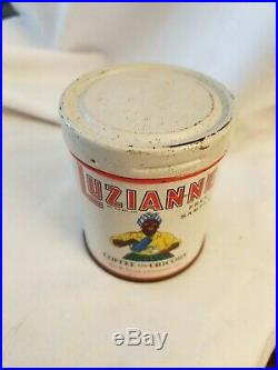 LUZIANNE Coffee and Chicory Sample TIN with Lid Black Americana Graphics