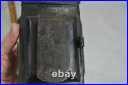 Lantern lamp old period carriage barn wall whale oil tin 19th original 1800 vg
