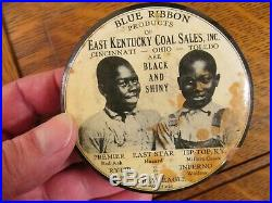 Large Antique East Kentucky Coal Sales Black Americana Celluloid Pocket Mirror