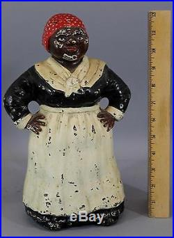 Large Antique HUBLEY Black Americana, Cast Iron Mammy Door Stop, NR