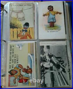 Large Vintage Black Americana Postcards Collection / Huge Lot In Album