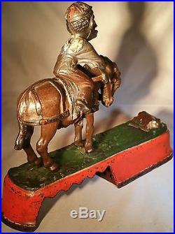 Late 1800s J. E. Stevens Cast Iron Always Did'Spise a Mule Mechanical Bank -Nice