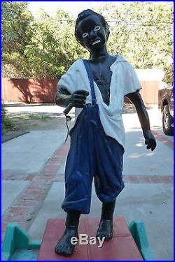 Lawn Jockey Groom Hitching Post Statue Black Americana 43 Tall-Cast Iron