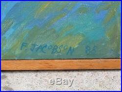Lg Orig FRANCES JACOBSON Black Americana Social Realist NY Portrait Oil Painting