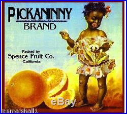 Los Angeles Black Americana Pickaninny Orange Citrus Fruit Crate Label Art Print