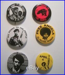 Lot of 6 vintage, original Black Panthers etc. Pinback buttons