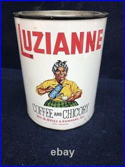 Luzianne Coffee 1lb Tin Minty Black Americana NEVER OPENED! RARE! Antique