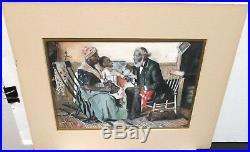 M. Peaker African American Doctor House Call Vintage Original Watercolor Painting