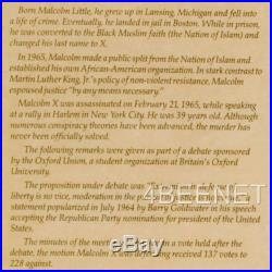 MALCOLM X BY ANY MEANS NECESSARY parchment poster CIVIL RIGHTS LEADER SPEECH
