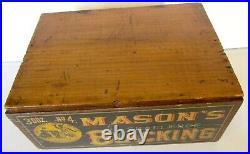 MASON'S CHALLENGE BLACKING WOODEN BOX ANTIQUE shoe polish AMERICANA advertising