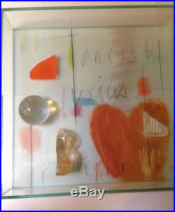 MAYA ANGELOU Estate Therman Statom Glass Shadowbox Mixed Media Signed