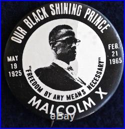 Malcolm X -our Black Shining Prince 1965 Memorial Button Original Pinback Rare