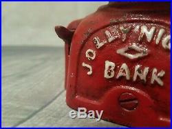 Mechanical Jolly Bank John Harper Co. Cast Iron Original Paint Black Americana