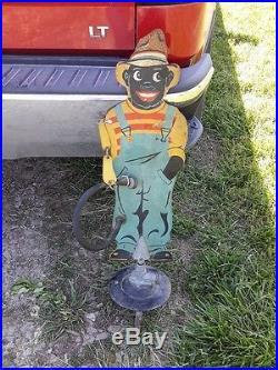 Metal 1930s Black Americana Sprinkling Sambo Figural Lawn Water Sprinkler