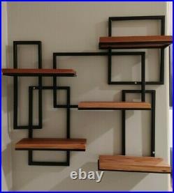 Mid Century Modern Custom Made Metal & Redwood Wall Hanging Shelf