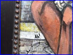 Mixed-Media Painting by April Harrison African American Figure Fenced In