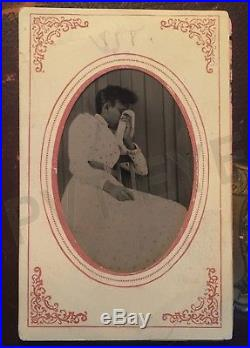 Mourning Photo Black African American Woman Post Mortem Funeral Vtg Tintype