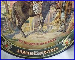 NICE Old Antique GREEN RIVER ADVERTISING WHISKEY TRAY Black Americana MAN Litho