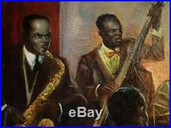 NY JAZZ 1933 Painting Louis Armstrong GRAND CENTRAL SCHOOL Harlem Renaissance