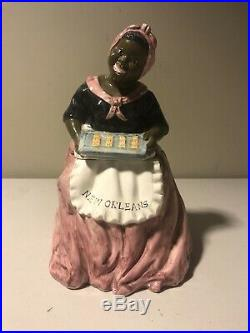 New Orleans Souvenir Cookie Jar Mammy With Tray Of Cookies Black Americana
