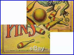 Nice Example Scarce Milton Bradley Darkey Ten Pins Game Black Americana