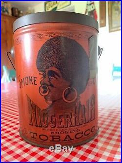 Nigerhair Tobacco Tin Black Americana Farm Gas Oil Soda Sign
