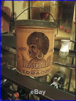 NiggerHair Tin Litho Black Americana Hair Lunch Pail Advertising Tobacco Tin Can