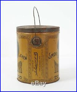 Niggerhair Bigger Hair Tobacco Tin Pail Black Americana Great Condition with Lid