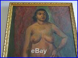 Nude African American Painting Portrait Black Americana Collection Vintage Huge