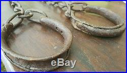 ORIGINAL ANTIQUE SLAVE Shackles 18th Century FORGED IRON -EXTREMELY RARE