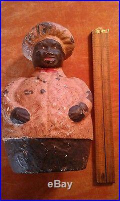 ORIGINAL Mammy Chef Cast Iron Still Bank black americana 1920's door stop