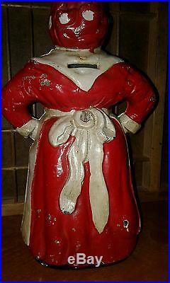 ORIGINAL large Mammy with white apron Cast Iron Still Bank black americana