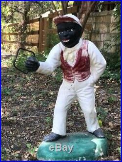 OZARK ANNIE ANTIQUE JOCKO Black Americana Lawn Jockey/LOCALPICKUPONLY