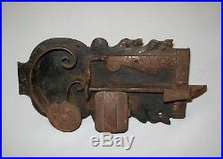 Old Antique Vtg 19th C 1800s Folk Art Hand Wrought Forged Iron Lock Pennsylvania