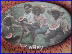 Old Folk Art Hand Painted Watermelon Frame with Boys Eating Watermelon Chromolitho