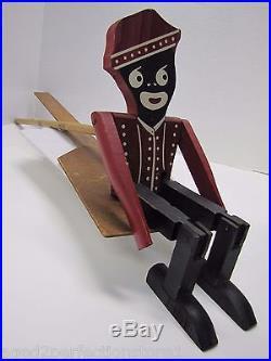 Old Folk Art Wooden Dancing Bellhop Toy fabulous detail black americana