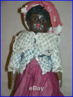 Old Paper Mache Brown Glass Eyed Girl Doll African American Black Americana Mamm