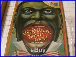 Orig 1800's The JOLLY DARKIE TARGET GAME v clean and bright RED WHITE BLUE BLACK