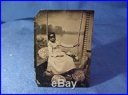 Orig 1860s BLACK AMERICANA Image YOUNG GIRL on SWING Portrait TINTYPE PHOTO