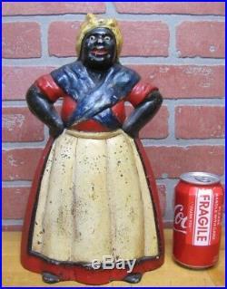 Orig 1920s Cast Iron Mamma Doorstop Black Americana Red White Blue USA Paint
